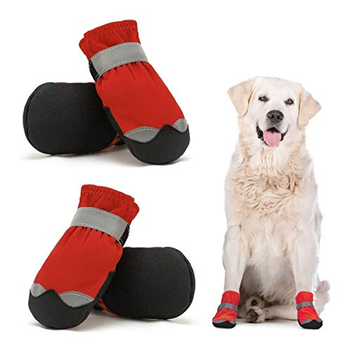 Dog Shoes Protective for Large Medium Pet Dog Socks 4PCS Anti-Slip Dog boots Sole Paw Protector with Reflective Straps Wear-resistant Dogs Booties Sports Walking Outdoor Red 4#