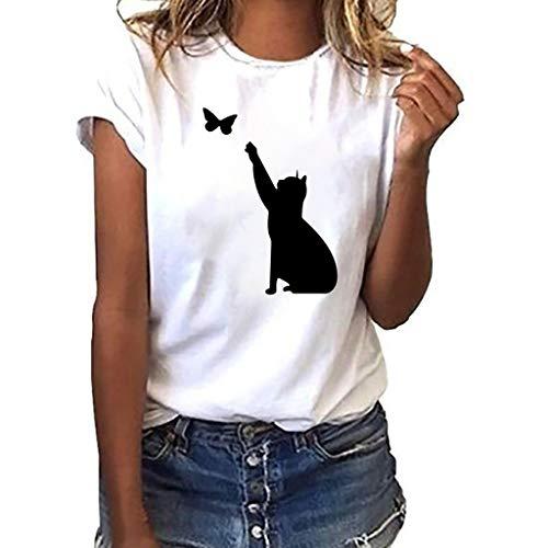 FRAUIT Damen Katze Print T-Shirt Übergröße Tees Shirt Cat Butterfly Kurzarmshirt Oansatz Drucken Tops Bluse Mode Lose Oberteil Basic T-Shirts Elegant Streetwear Weich Bequem Kleidung