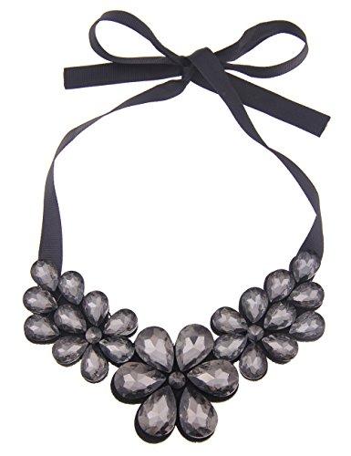 Leslii Damenkette Statement Blüten Blumenkette Filz mit Glas-Steinen Modeschmuck Länge 40cm verstellbar Grau Schwarz