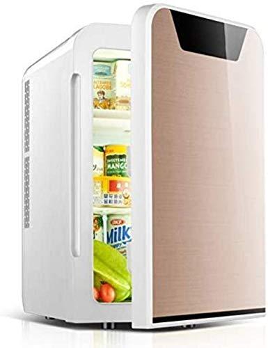 Mini refrigerador del coche 22L refrigerador pequeño hogar del coche de doble uso, una pequeña nevera, aplicable al alquiler de una vivienda de Estudiantes compartida, de oro, de doble núcleo 1yess