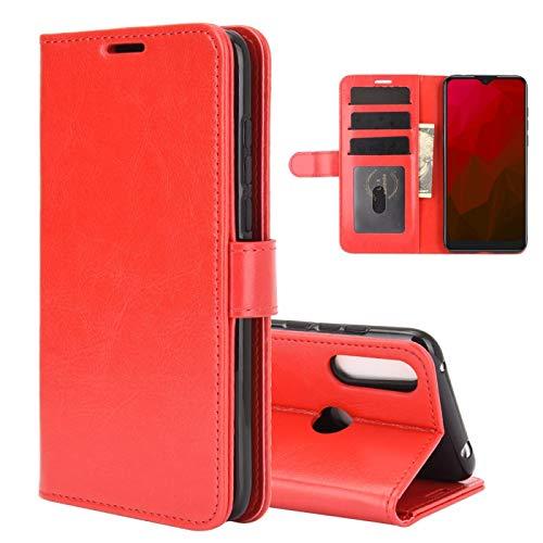 Accesorios para celular Para la caja protectora del tirón Vodafone inteligente V11 R64 solo textura horizontal con el sostenedor y ranuras para tarjetas y monedero y marco de fotos ( Color : Red )