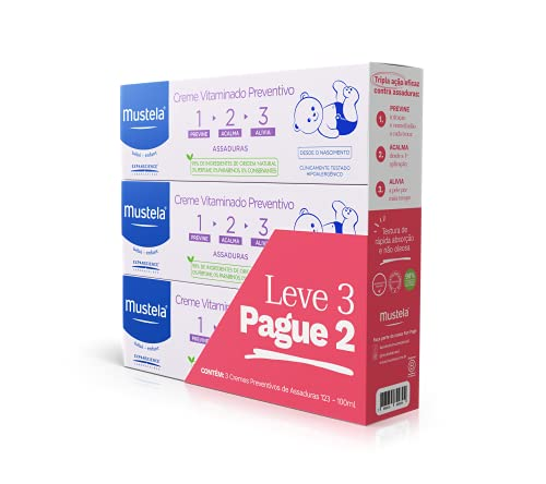 Kit Leve 3 Pague 2 Creme Vitaminado Preventivo de Assaduras 1> 2> 3 Mustela 300 ml, Mustela Bebê, Roxo, 300ml, pacote de 3