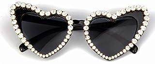 TYJYY Sunglasses Lunettes De Soleil Femmes Designer De La Mode Lunettes De Soleil pour Hommes Strass Rétro Amour Coeur For...