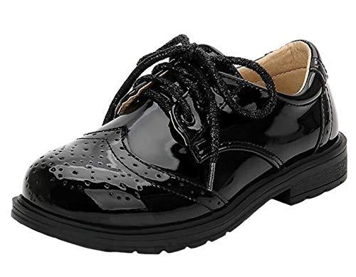 DADAWEN Boy's Lace-Up Brogues Oxford Dress Shoes Black 7 UK Chil