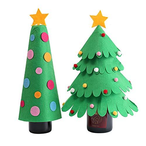 2 Stück/Set Weinflaschenabdeckung, Weihnachtsbaum-Design, mit Wellenspitze, Weihnachtsdekoration, Party-Tischdekoration