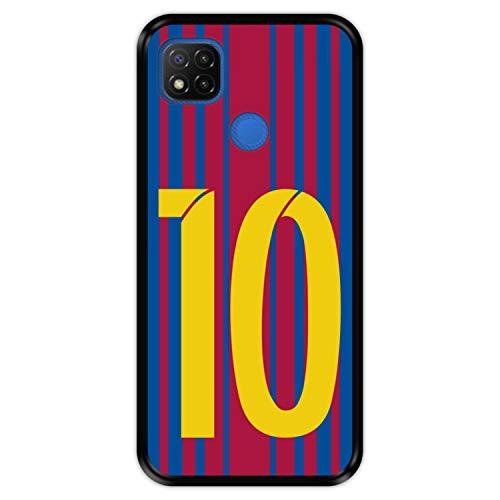 Hapdey Funda Negra para [ Xiaomi Redmi 9C ] diseño [ Ilustración fútbol, número 10 ] Carcasa Silicona Flexible TPU