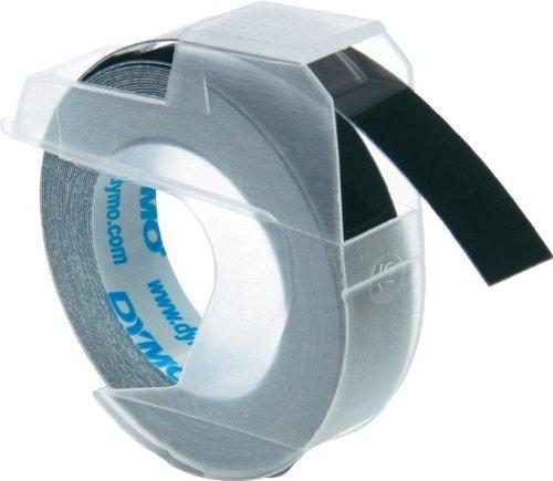 3D Prägeband für DYMO 1540, Weiss auf Schwarz, 9 mm, Schriftband-Kassette, Farbband, 3mtr.