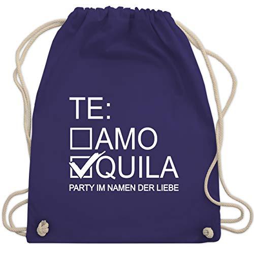 Shirtracer JGA Junggesellenabschied Frauen - Tequila/Teamo - weiß - Unisize - Lila - Geschenk - WM110 - Turnbeutel und Stoffbeutel aus Baumwolle