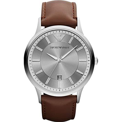 Emporio Armani AR11185 Uhr Herrenuhr Leder-Armband 5 bar Analog Datum braun