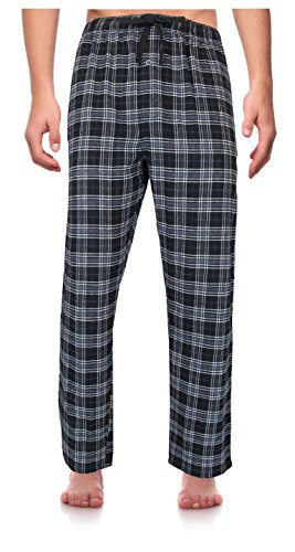 RK Classical Sleepwear Men's 100% Cotton Flannel Pajama Pants,Black / Gray, Plaid (F0153),XX-Large