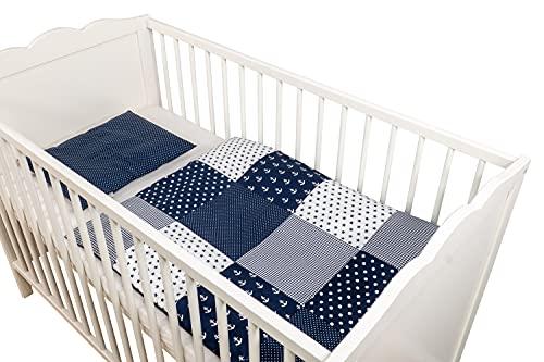 Conjunto de ropa de cuna de ULLENBOOM ® con Azul Ancre (juego de 2 piezas para cuna: funda de almohada de 35x40 cm y funda nórdica de 80x80 cm)
