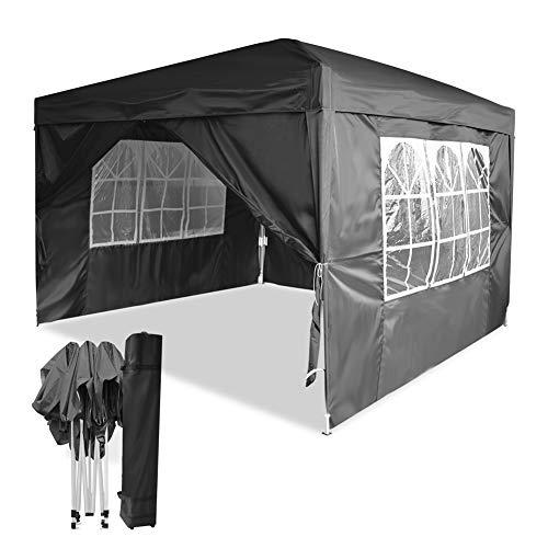 Mondeer 3x3m Faltpavillon, Pavillon mit 4 Seitentüchern, Pop up Zelt im Freien, UV-Schutz, Faltbar Garten Pavillon, Wasserdicht Gartenzelt, für Partys, Camping, Hochzeiten, Festival, Grau