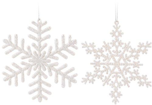 14er Set Flocons de neige blanc 15 x 15 cm – Sapin Arbre à bijoux bijoux Décoration de fenêtre 14 pièces