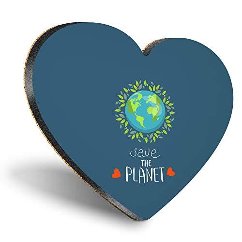 Posavasos con forma de corazón de MDF, ahorra el planeta, cambio climático, con calidad brillante, protección de mesa para cualquier tipo de mesa #46280