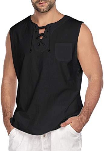 COOFANDY Herren Hemd Kurzarm Ärmelloser Leinenhemd Freizeithemd Fisherman Yoga Shirt Beach Unterhemden Tank top
