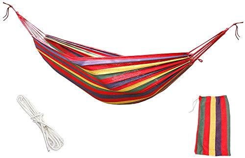 Hamaca de tela de algodón portátil Hamacas de viaje 1 persona 204 kg para dormitorio, hamaca interior, silla, cama, jardín, patio, para colgar al aire libre, interior cama de lona hamaca