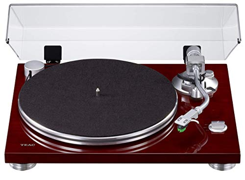 Teac TN-3B draaitafel met riemaandrijving (MM-Phono EQ-versterker geïntegreerd, digitale USB-uitgang, SAEC geluidsarm, 33 & 45 RPM snelheid), kers