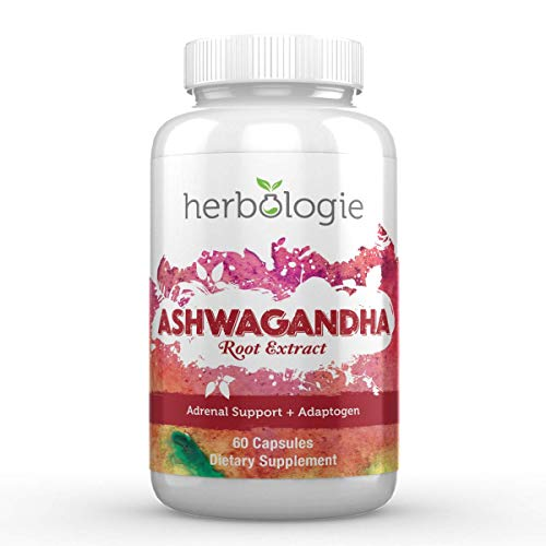 Herbologie 100% Pure Ashwagandha Root Extract Capsules - 1000 mg Serving, Natural Adrenal Support for Stress & Cortisol Management, Supplements for Energy & Brain Health, 60 Count