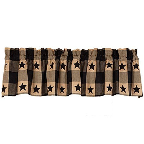 The Country House Collection Black Star Check Valance (72x14)