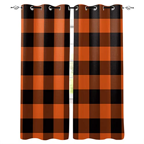 """Draperies & Curtains Panels for Living Room Bedroom Halloween Buffalo Plaid Checkered Orange Black Window Curtains for Home Kitchen - Set of 2 Panels, 80"""" W by 84"""" L"""