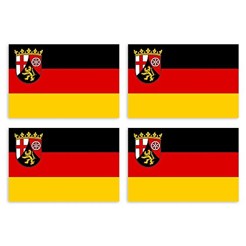 KIWISTAR Aufkleber 4,5 x 3 cm Rheinland-Pfalz - Bundesland Autoaufkleber Deutschland Flagge Länder Wappen Fahne Sticker Kennzeichen