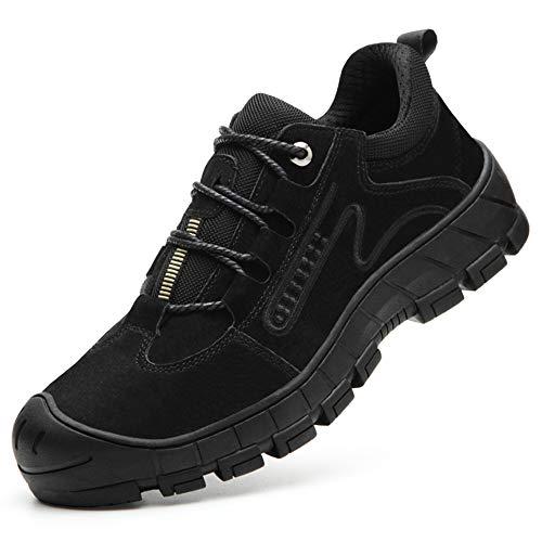 [Aoop] 防水 安全靴 ハイカット ブーツ 作業靴 メンズ スニーカー 防寒 鋼先芯 おしゃれ セーフティーシューズ 軽量 通気 防滑 登山靴 衝撃吸収 耐摩耗 ワーキングシューズ 9171 ブラック 24.5cm/39