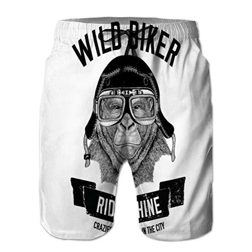 Imprimir en 3D Pantalones Cortos de Playa de Secado rápido para Vacaciones de Verano para Hombres imágenes Vintage Gorila Mono Moto Moto Moto Scooter Club Aero Club Imagen Dibujada a Mano