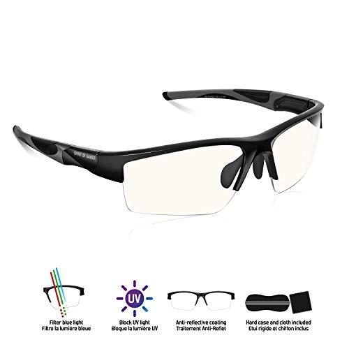 SPIRIT OF GAMER - Gafas Gaming PRO RETINA - Alta Protección para Pantallas - PC/Consolas/TV - Anti-Fatiga - Filtro de Luz Azul - Tratamiento Antirreflejo - Bloque UV - Estuche Incluido