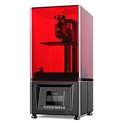 ELEGOO Mars Pro 3D Printer with Air Purifier, MSLA UV Photocuring LCD 3D Printer, Front USB Port Matrix UV LED Light Source 2K LCD Screen, Off-Line Print, 4.53 x 2.56 x 5.9in Printing Size