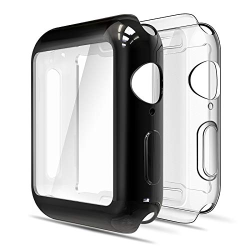 Simpeak 2 Pcs 2-Packs Funda Compatible con iWatch 44mm Series 6/SE/5/4, Funda Compatible con Apple Watch 44mm Slim Suave TPU Protector de Pantalla, Transparente y Negro