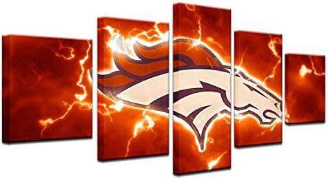 HAOSHUNDA Denver Broncos Logo Room Decor Wall Art 5 Panel Sports Football Canvas Print Wall product image