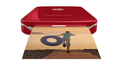 "HP Sprocket Plus Instant Photo Printer (Red) Prints on 2.3x3.4"" Zink Sticky Back Pictures Straight from Smartphone & Social Media."