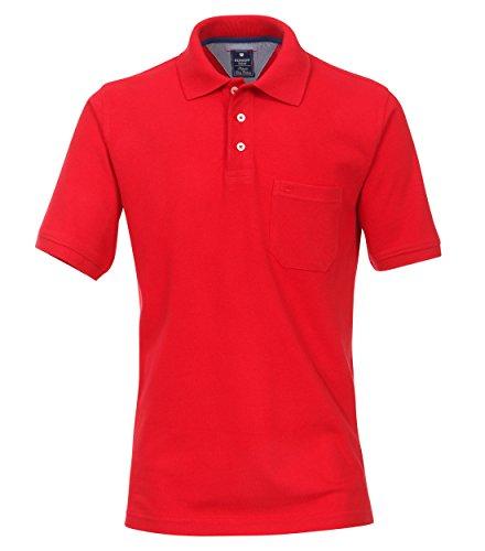 Redmond Polo para hombre, monocolor, bolsillo en el pecho, 100% algodón. 500 rojo. XXXL