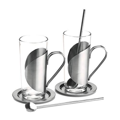 ROMINOX Geschenkartikel Teegläser // Marco Polo – 6-teiliges Heißgetränke-Set: 2 (Tee-) Gläser mit klarer, linearer Formensprache, Untersetzer und Trinkhalmlöffel; Maße: ca. 6 x 6 x 14 cm