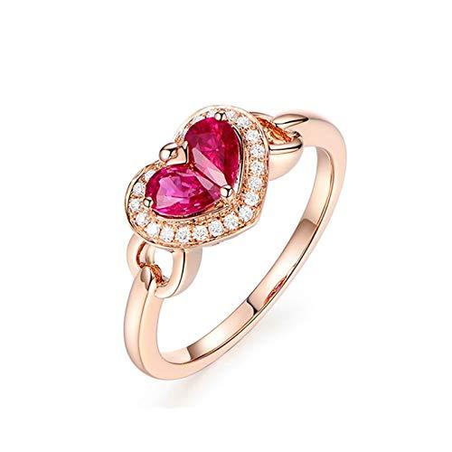 Cenliva Ladies Ruby Rings, Finger Rings for Women18K Gold 0.65ct Double Heart Ruby VVS1 Ring Size K 1/2