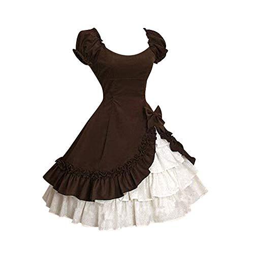 Mittelalter Kostüm Lolita Kleider Damen Vintage Kleid Abend Cocktailkleid Mittelalterliche Maid Cosplay Kurzarm Quadratischen Kragen Gekräuselten Schichten Gothic Kleid Karneval Fasching Fasnacht
