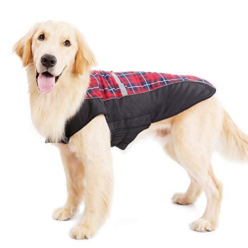 LIVACASA Hundejacke Winter Wasserdicht Hundemantel Warm Karierte Wintermantel Winterjacke für Hunde Regenmantel Gepolstert Hundeweste Reflektierend mit Bauchschutz Leineloch Rot L