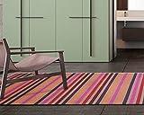 Comercial Candela Alfombra de Pasillo de Textil Resinado Antimanchas, Lavable | Base PVC Antideslizante y Aislante Diseño Moderno Arcoiris (65_x_100 CM)