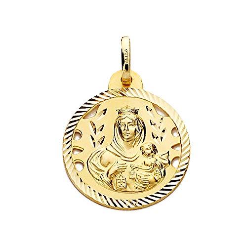 Medalla Oro 18K Virgen Del Carmen 20mm Calada Cerco Tallado [Aa2470Gr] - Personalizable - Grabación Incluida En El Precio