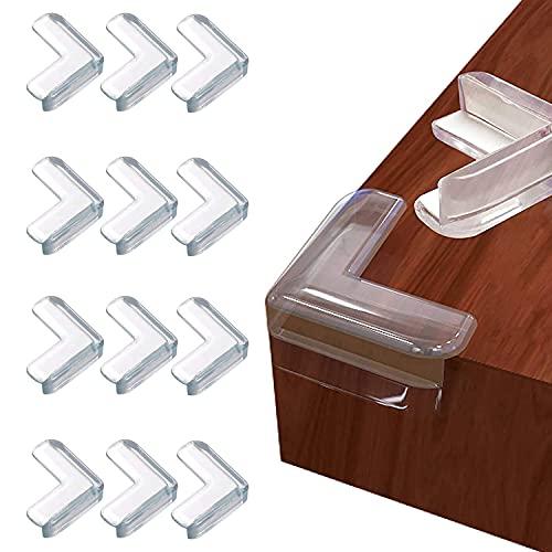 12 Stücke Eckenschutz, Kantenschutz Baby, L-förmiger Eckenschutz und Kantenschutz Transparenter, Stoßschutz für Baby Kinder Transparent Eckenschutz für Möbel.
