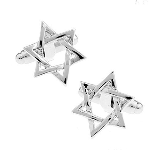 Boutons de manchette en argent étoiles de David dans une boîte de présentation de luxe. Nouveauté Thème Religieux Bijoux