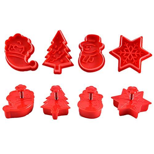 Tianbi Lot de 4 emporte-pièces de Noël en 3D pour gâteaux, f