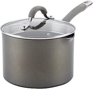 Circulon 84567 Elementum Hard Anodized Nonstick Sauce Pan/ Saucepan with Straining and Lid, 3 Quart, Gray