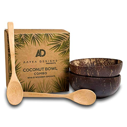 Aayka designs 2 Coconut Bowls With 2 Spoons Salad Smoothie or Buddha Bowl
