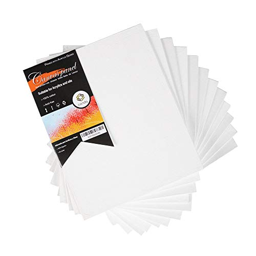 CONDA Artist Canvas Panels 8 x 10 inch, 12 Pack, Artist Quality Acid Free Canvas Board for Painting & Oil