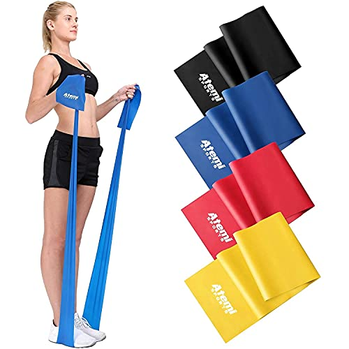 Atemi Sports Resistance Band 12 Metre or 2 Metre Four Resistance Levels Free Workout Guide Exercise Band Ideal for Physiotherapy Strength and Fitness Training RedMedium 2m