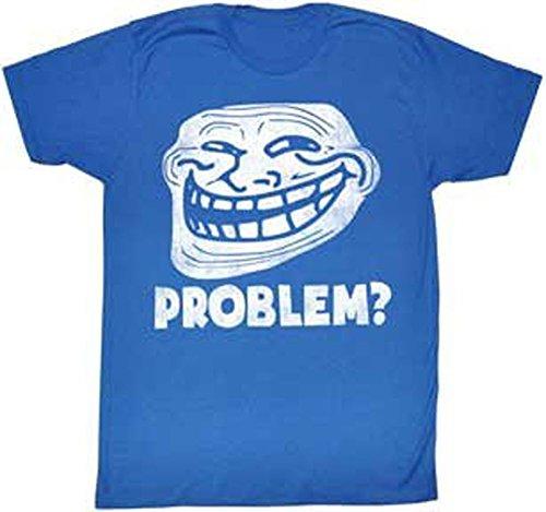 Troll Face Problem? Adult Blue T-shirt (Adult Medium)