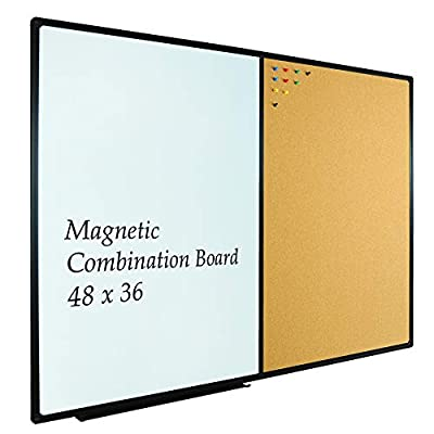 JILoffice Whiteboard & Bulletin Corkboard Combination, Combo Board 48 x 36 Magnetic Whiteboard, Black Aluminum Frame Wall Mounted Board for Office Home and School with 10 Push Pins from JIL World