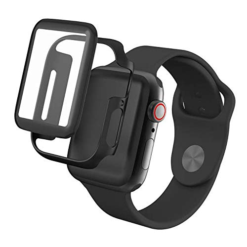 InvisibleShield Glass Fusion - Engineered Hybrid Glass - Full Body with Bumper - Made for Apple Watch Series 4/5 (44mm) - Black