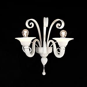 Firenze aplique de cristal de Murano 2 luces blancas